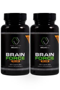 2 Bottles of 20% more Brain Force lined up