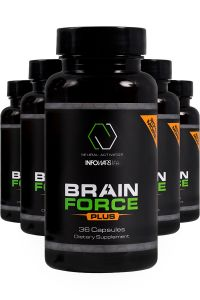 Close up of bottles lined up for the Brain Force Infowars Life 5 pack