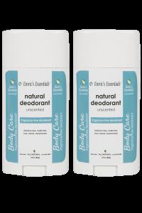 2 bottles of Emric's Essentials Unscented Deodorant for 2 pack