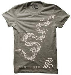Front view of Join or Die Snake T-Shirt from Infowars