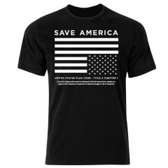 Front view of Save America Upside Down Flag T-Shirt