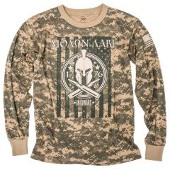 Front view of Tan Camo Long Sleeve Molon Labe Shirt