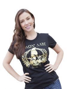 Front view of Women's Gold Foil Molon Labe Shirt