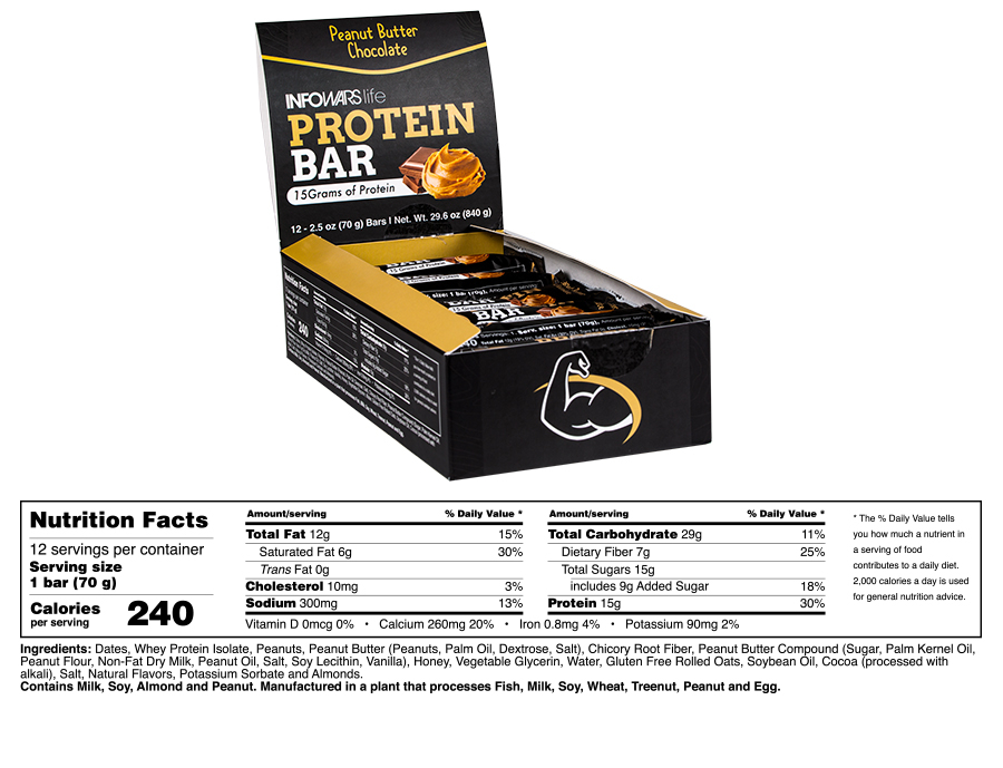 Infowars Life Protein Bar Chocolate Peanut Butter Supplement Facts