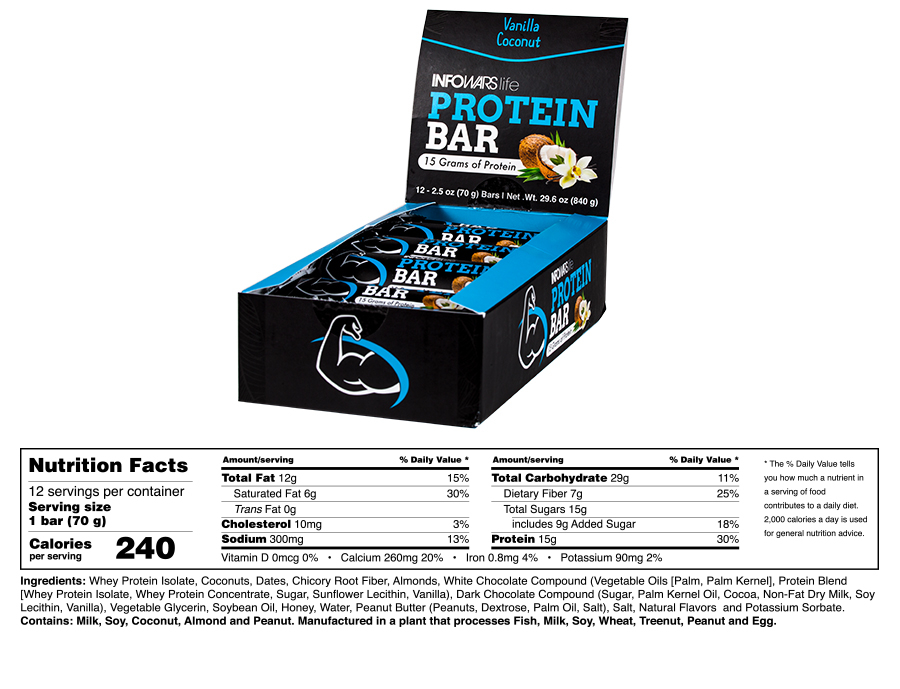 Infowars Life Protein Bar Vanilla Coconut Supplement Facts